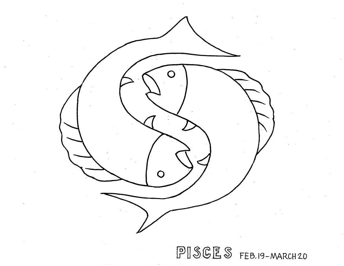 Horoscopes Coloring Pages Quot Zodiac Pisces Quot Zodiac Coloring Page
