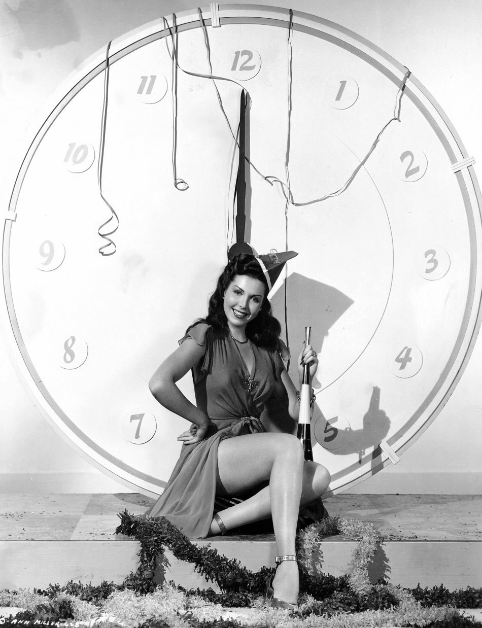 Ann Miller wants for us to have a Happy New Year! (from 1946)