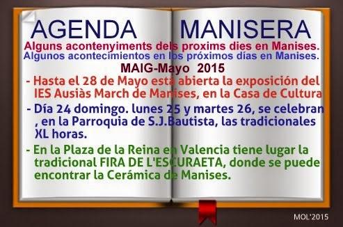 AGENDA MANISERA, SEMANA 22 DE 2015