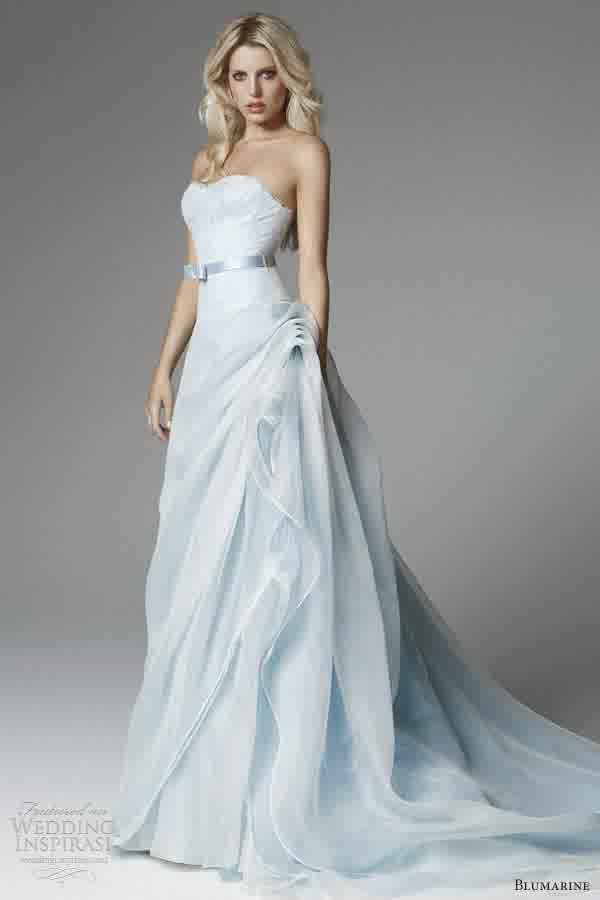 Delightful Colored Powder Blue Bridal Dresses Gown