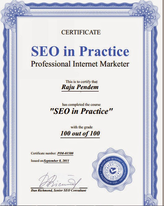 Pendem Raju Internet Marketer Certificate online scored 100 out of 100 in one attempt of SEO in Practice certification exam