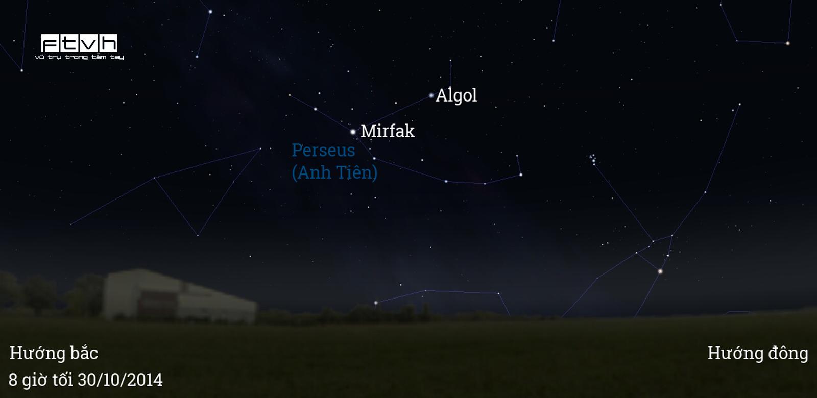 Bầu trời hướng đông bắc lúc 8 giờ tối ngày 30/10. Sao Mirfak va sao biến quang Algol thuộc chòm sao Perseus (Anh Tiên) đang tỏa sáng.
