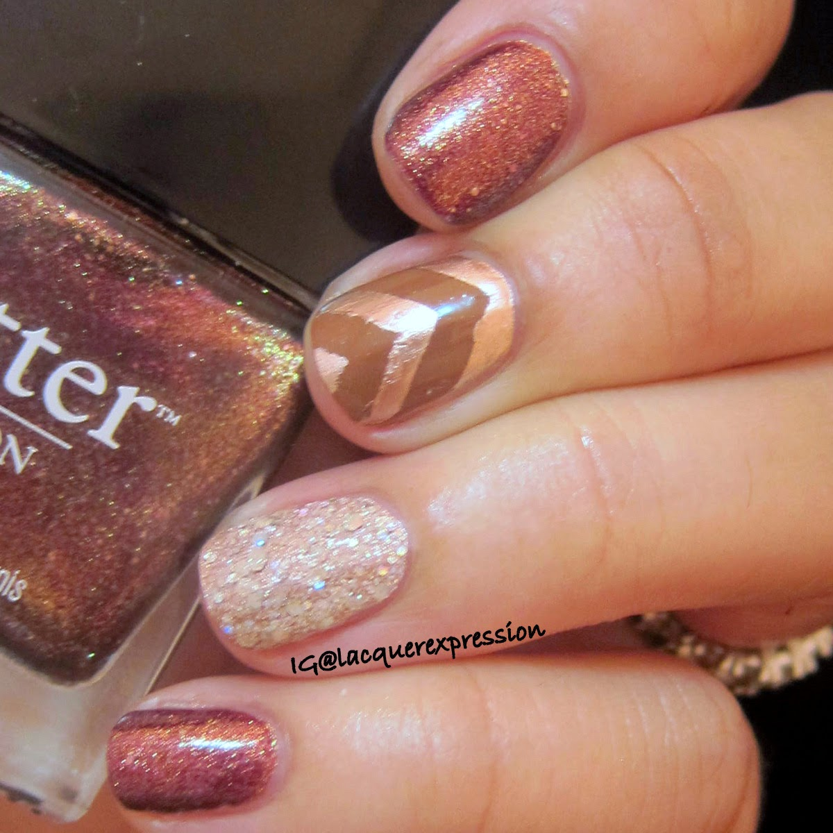 Fall inspired manicure using butter london brown sugar