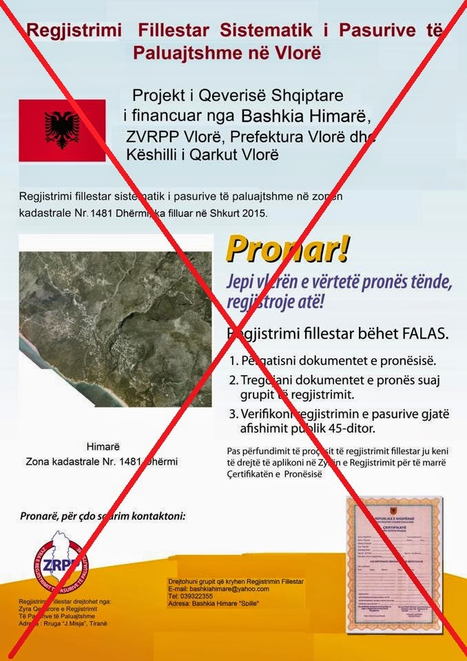 """STOP"", the registration of property titles, in the Region of Himara, without come back properties"