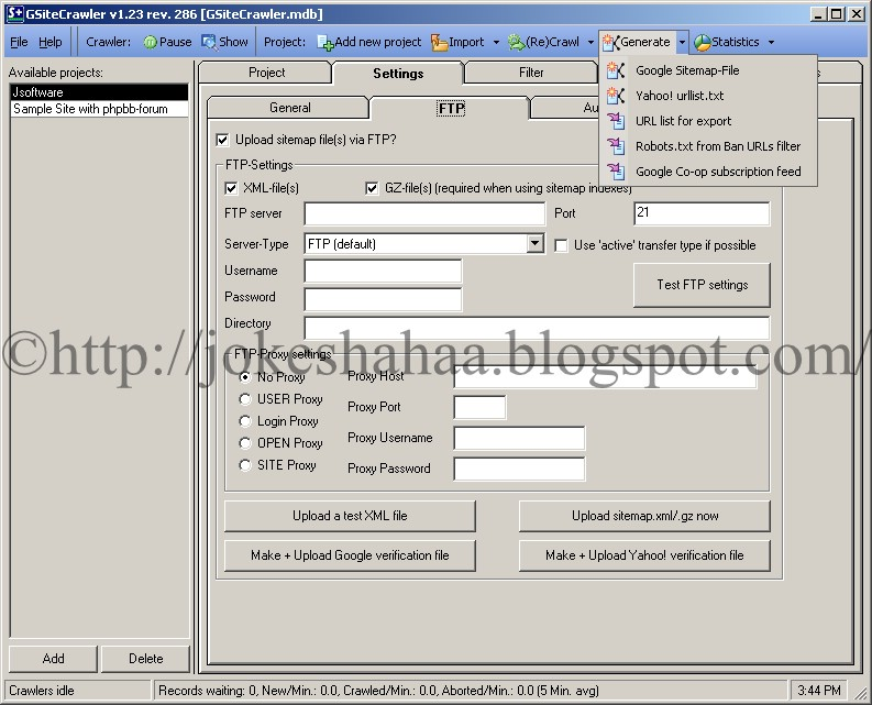 GSiteCrawler_Sitemap_Generator_for_Google_Yahoo!_MSN_Generate