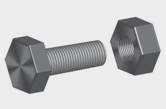 Illustrate a Screw-bolt and a Nut with 3D Effects