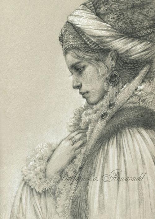 24-Girl-in-National-Costume-Olga-Anwaraidd-Drawings-Fantasy-Portraits-Imaginary-Characters-www-designstack-co