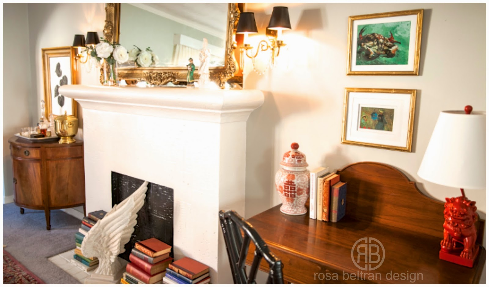 The Two Little Prints Above The Desk Are Book Pages In Thrift Store Frames .