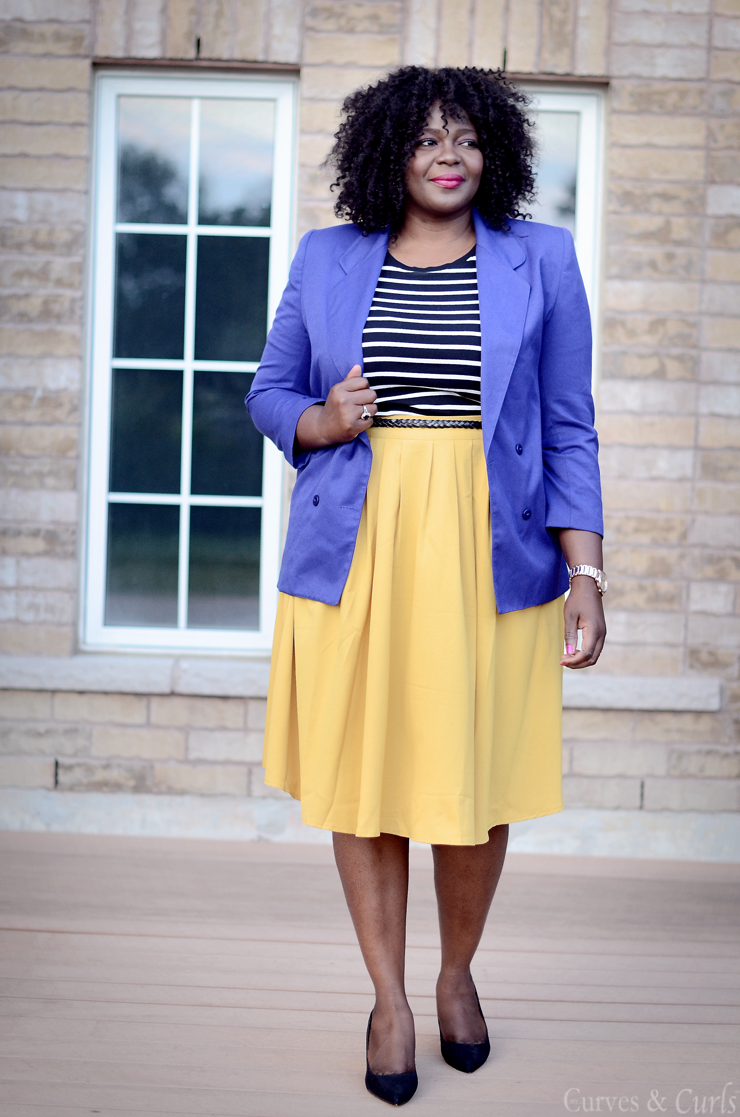 How to build a remixable closet #Plussize #stripes #curves #blazer #modcloth #mustard #skirt