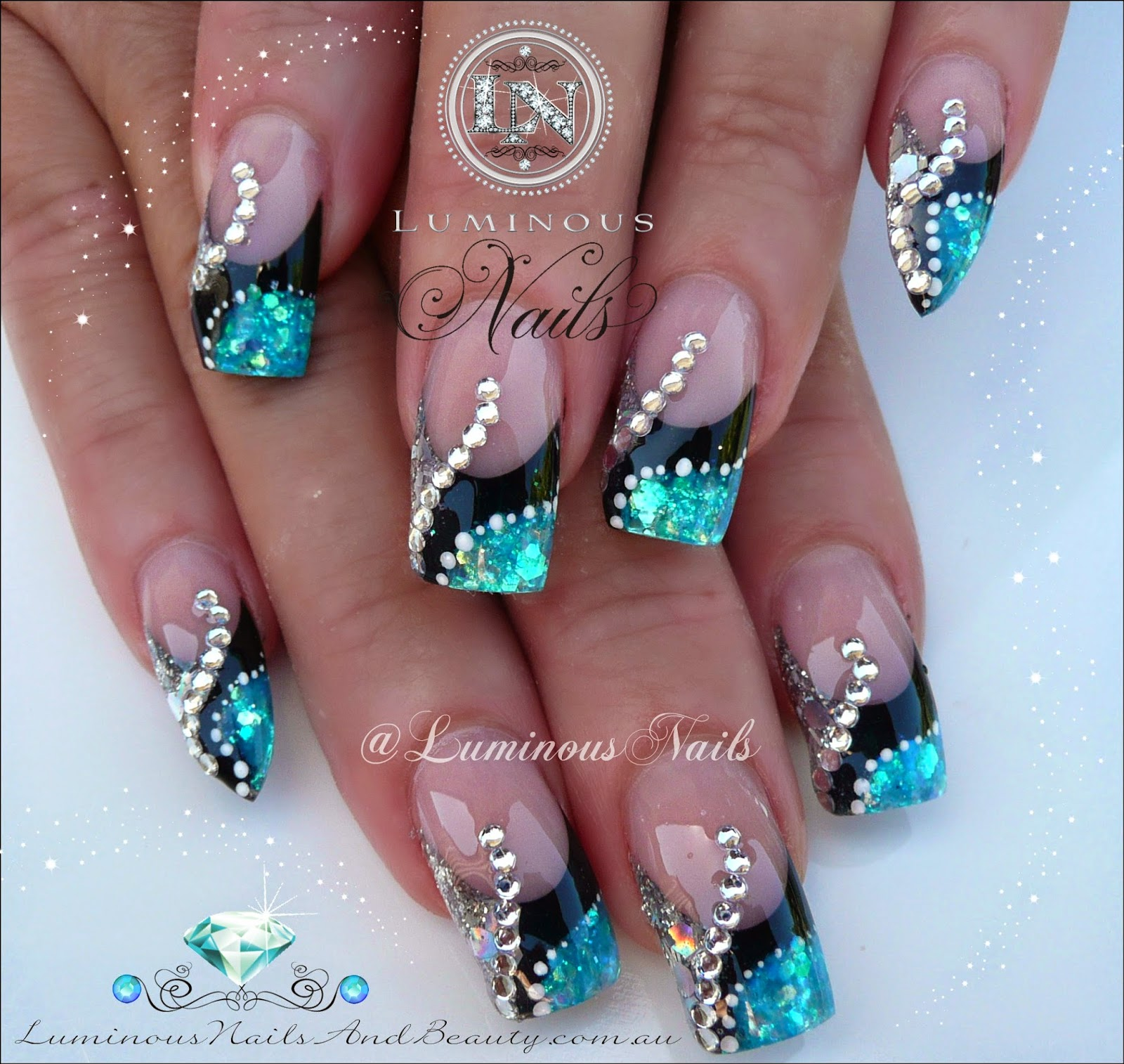 Acrylic Nail Designs White And Silver: Purple silver white nails ...