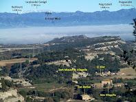 Vistes del mas Vilageliu, Bellmunt i el Canigó des de la Baga del Puig