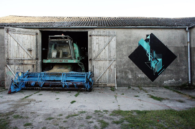 Abstract Street Art Mural By Seikon In Parchowo, Poland - Landscape