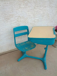 Teal and yellow school desk- SOLD