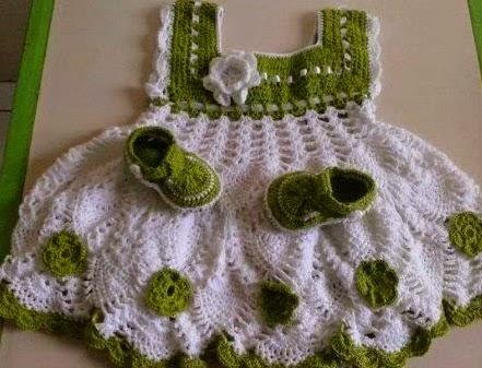 Vestido Bebe a Crochet o Ganchillo
