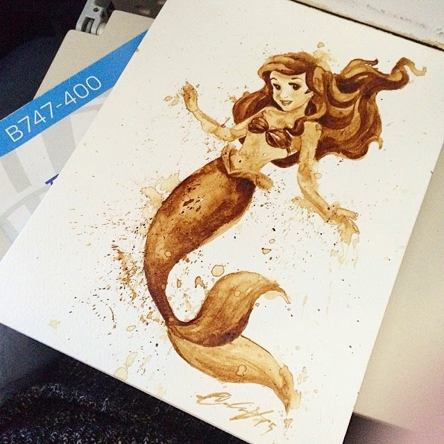 11-Ariel-The-Little-Mermaid-Maria-A-Aristidou-Pop-Culture-Painted-with-Coffee-www-designstack-co