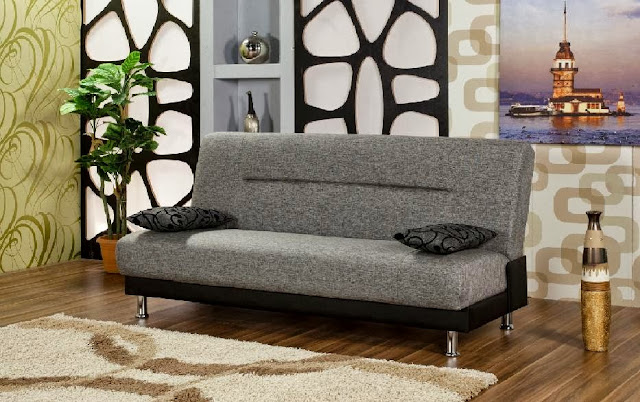 Metallic Grey Sleeper Sofa