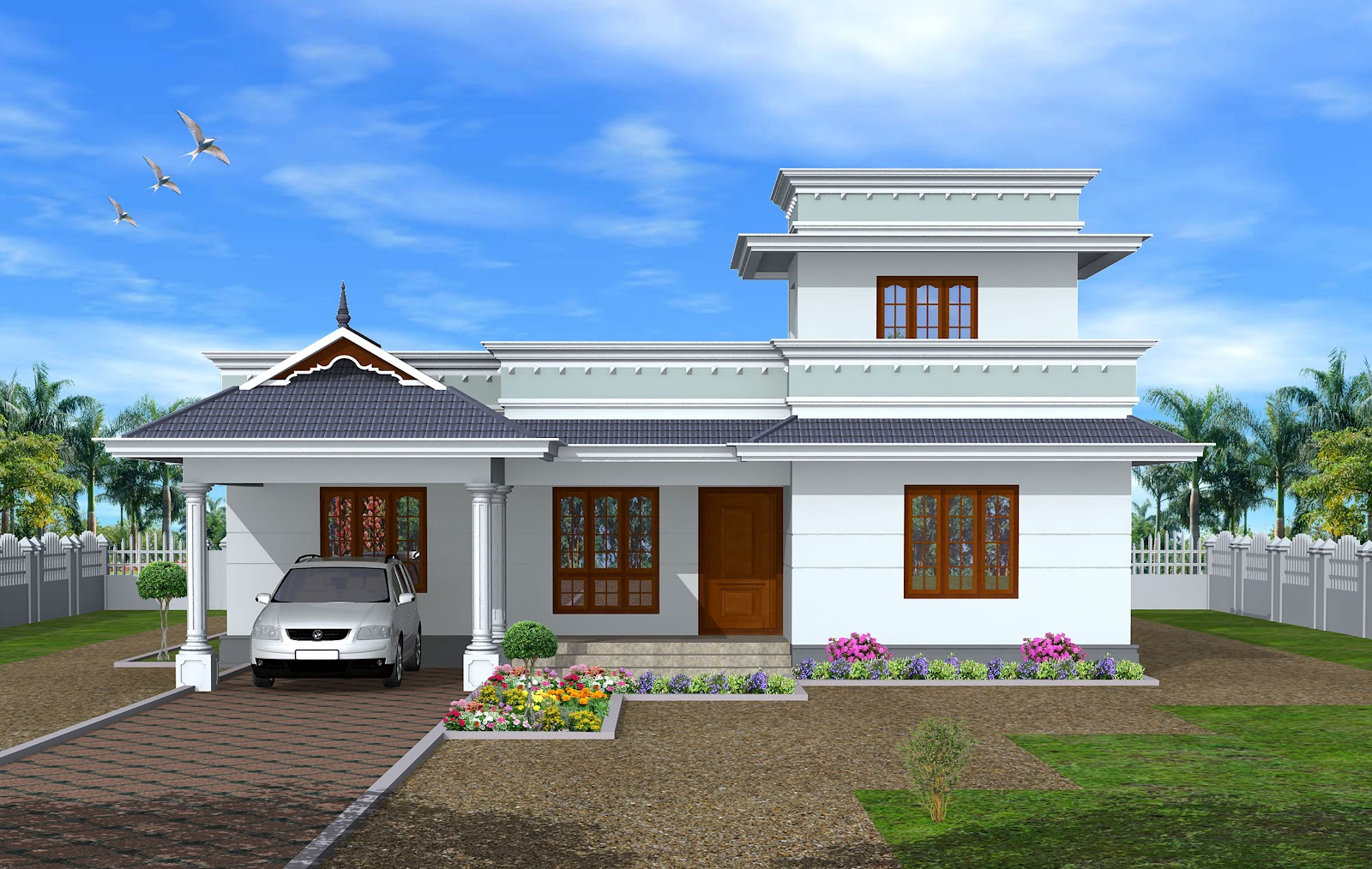 Green homes construction single floor kerala model house for Kerala house photos