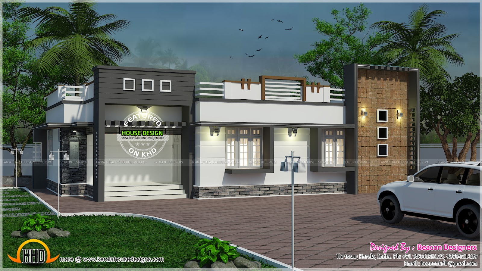 Single floor modern house elevation the for Kerala building elevation