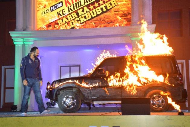 Rohit Shetty with a car on fire in Fear Factor Khatron Ke Khiladi
