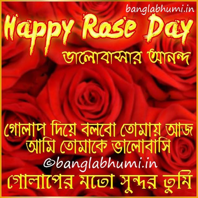 Happy Rose Day Bengali Wishing Wallpaper Free Download