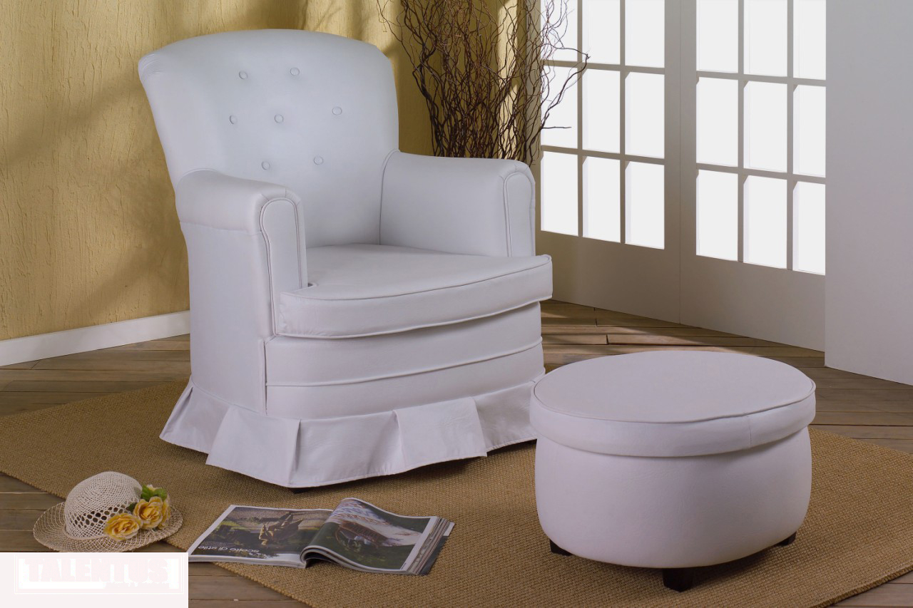 de amamentação: Poltrona em Courino branco com ou sem pufe / Cadeira  #644D32 1280x853