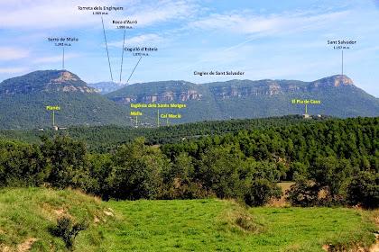 Panoràmica de les serres del nord-nord-est obtinguda des de La Caseta
