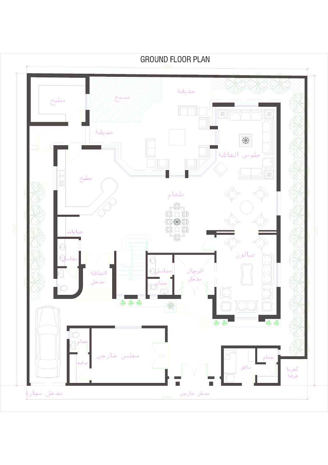 3d front oman modern villa plan for Plan villa