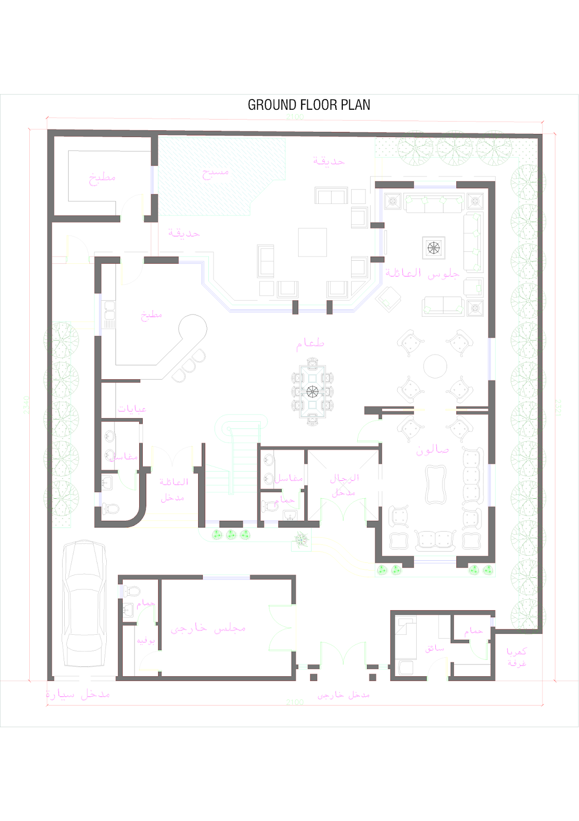 3d front oman modern villa plan for Plan villa 3d