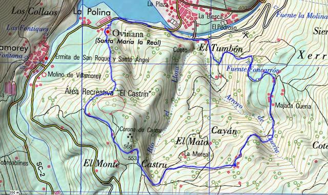 Castañeru  Montes Topographic Map Asturias