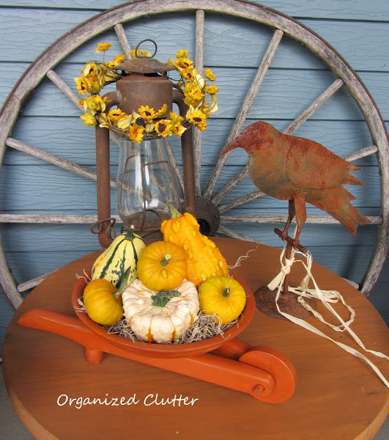 Fall Vignette with Wooden Bowl Wheelbarrow