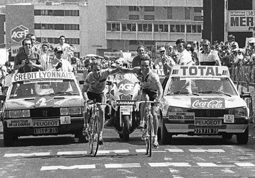 Alpe d'Huez in 1986 when Greg Lemond and Bernard Hinault grabbed hands over the finish line.