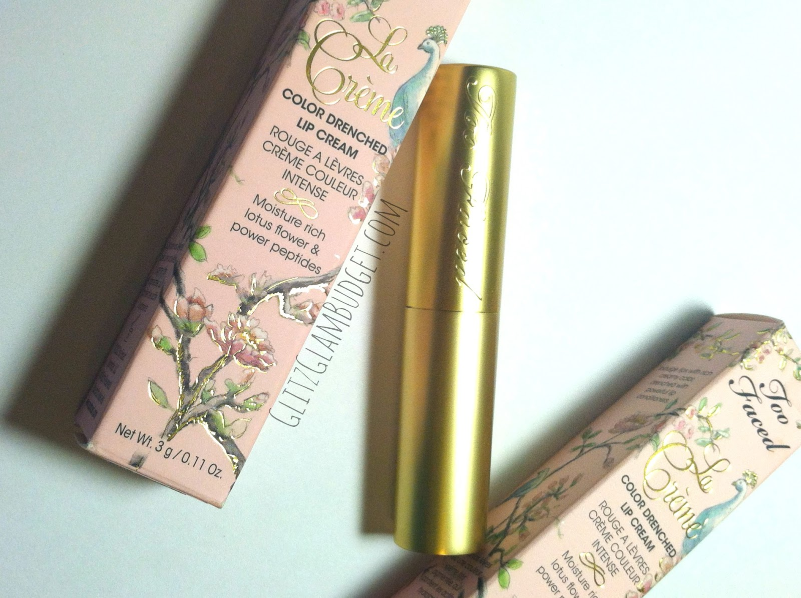 Too Faced La Creme Color Drenched Lipstick Packaging