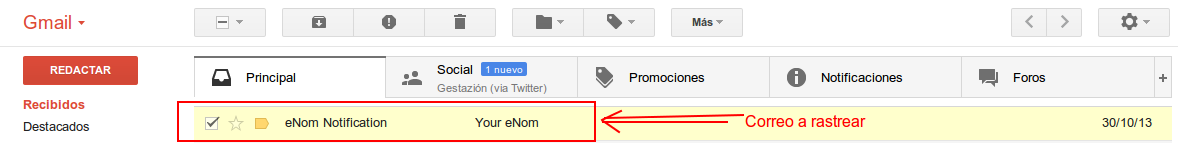 Vista correo Gmail