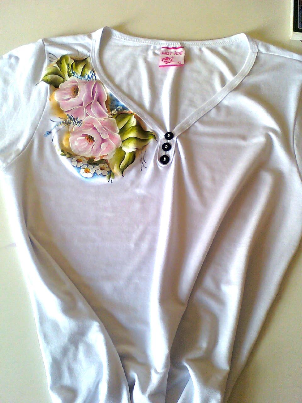 Cantinho chique pintura de rosas em - Pintura para camisetas ...