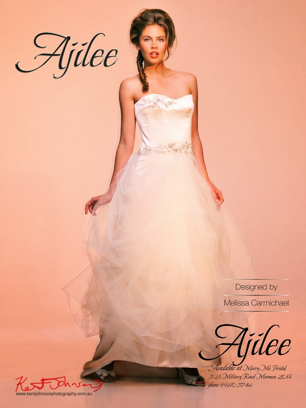 Ajilee Bridal Gowns Advertising Launch in Bride to Be Magazine - Saturated colour version. Photography by Kent Johnson.