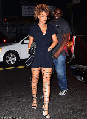 Rihanna strapped up sandals
