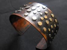 Brazalete cobre envejecido  y plata (150)