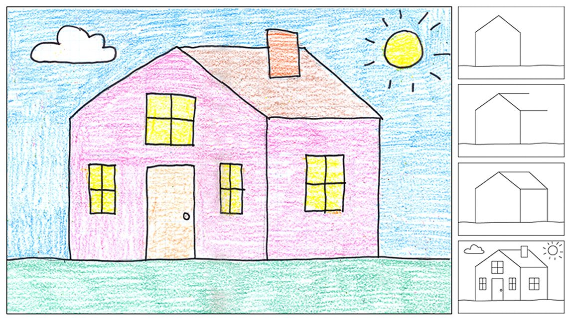 How to draw a house art projects for kids for How to draw a two story house step by step