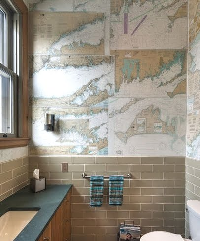 maps wallpaper in bathroom