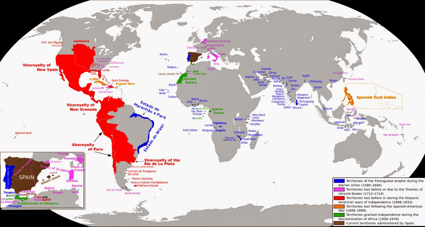 Anthropology of accord map on monday the spanish and portuguese the map above click to enlarge depicts the vast reach of the spanish and portuguese empires at their heights and the time periods at which each portion gumiabroncs Gallery