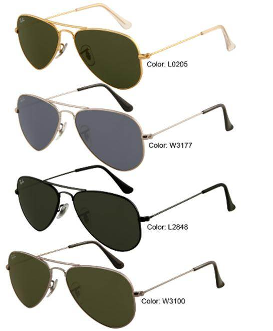 Ray Ban Aviators Sizes