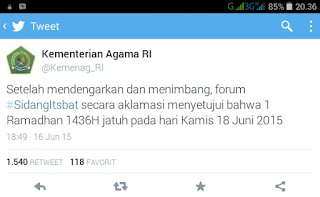 Sidang Itsbat Tetapkan 1 Ramadhan 1436 Hijriyah Tepat Pada 18 Juni 2015