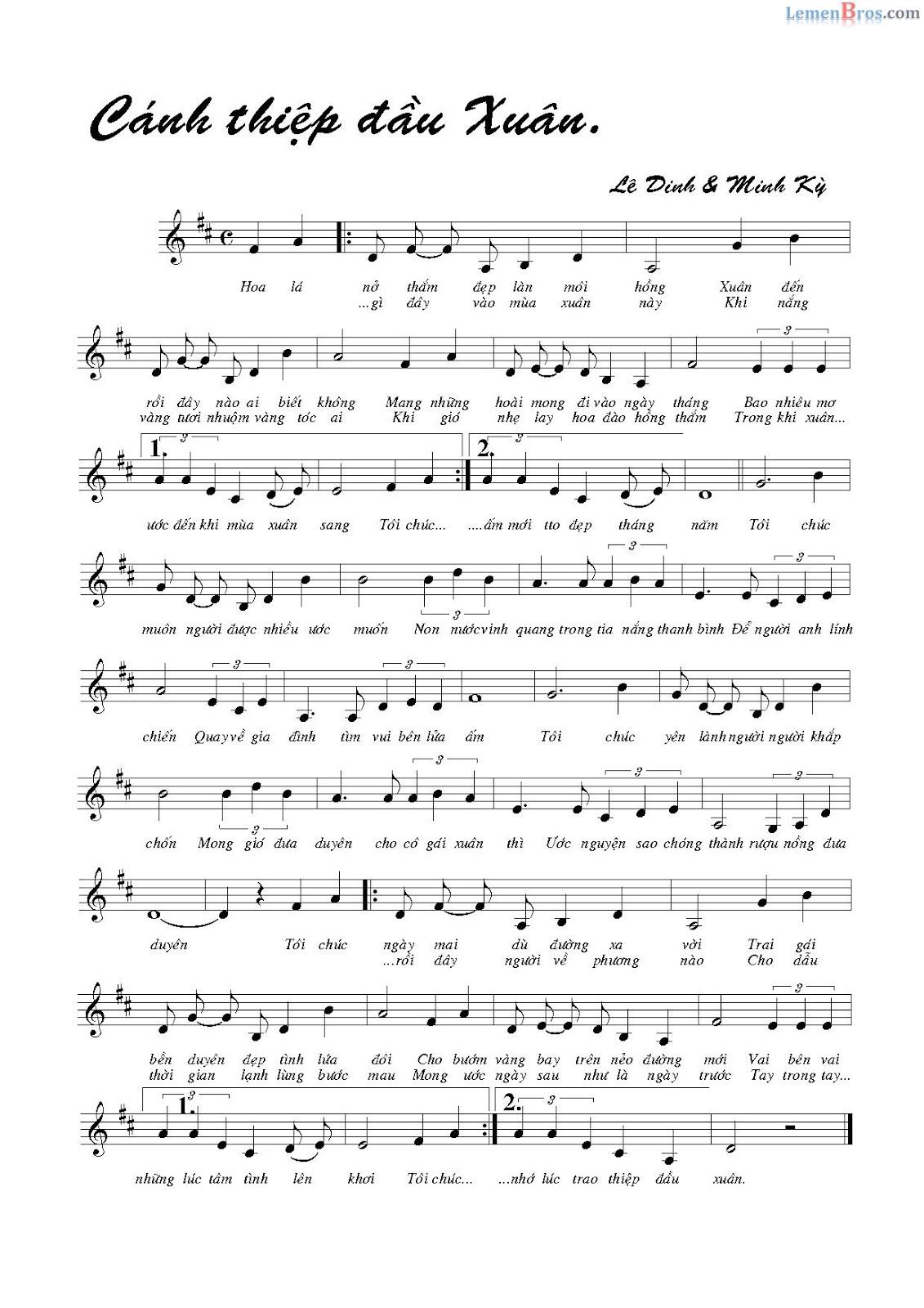 Nốt nhạc bài hát CÁNH THIỆP ĐẦU XUÂN