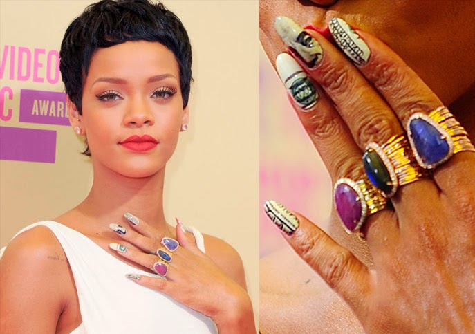 Unhas decoradas, nail art,  Rihanna