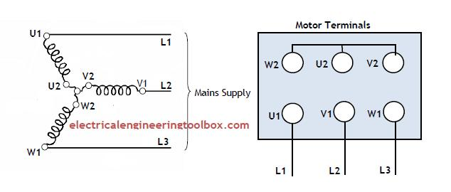 how to change the rotation direction and wire configuration star rh electricalengineeringtoolbox com electric motor star delta wiring diagram delta motor wiring diagram datasheet