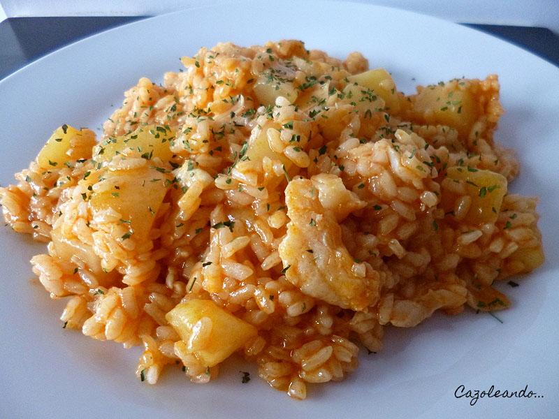 Cazoleando arroz con patatas y bacalao al piment n - Bacalao con garbanzos y patatas ...