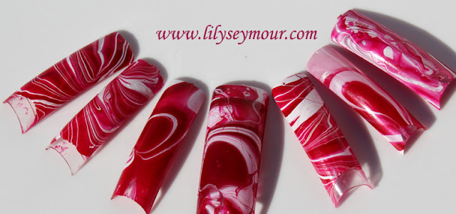Water Marble Valentine's Day Nail Design