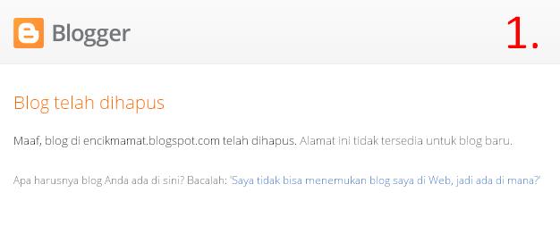 Contoh blog yang telah dihapus dan tidak dapat didaftarkan kembali