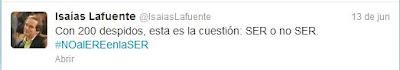 Tuit del periodista Isaías Lafuente