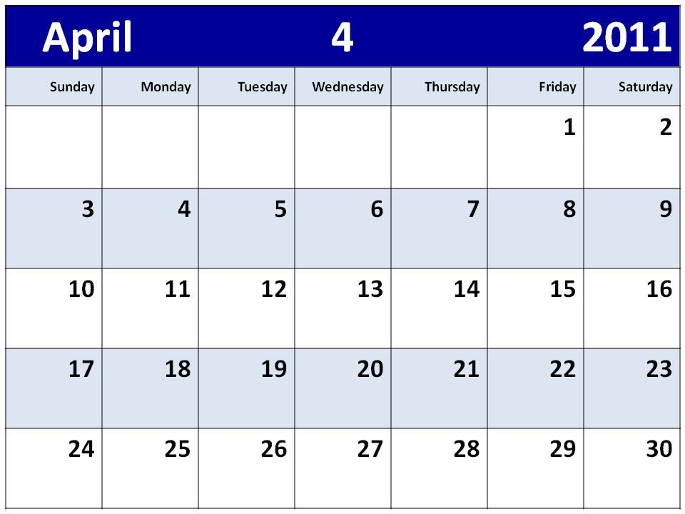 blank 2011 calendar april. lank 2011 calendar april.